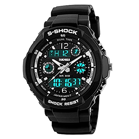 Outdoor Black Dial Cuff Watch Classy Waterproof Military Sport Analog Digital Watches for Men with (Classy Sports Watch)