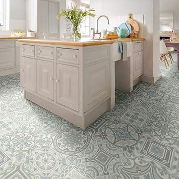 Moroccan Tile Effect Cushion Vinyl Flooring Sheet Lino Roll Safi 06