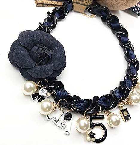 Pearl flower necklace black thick chain necklace bow necklace pearl pendant necklace