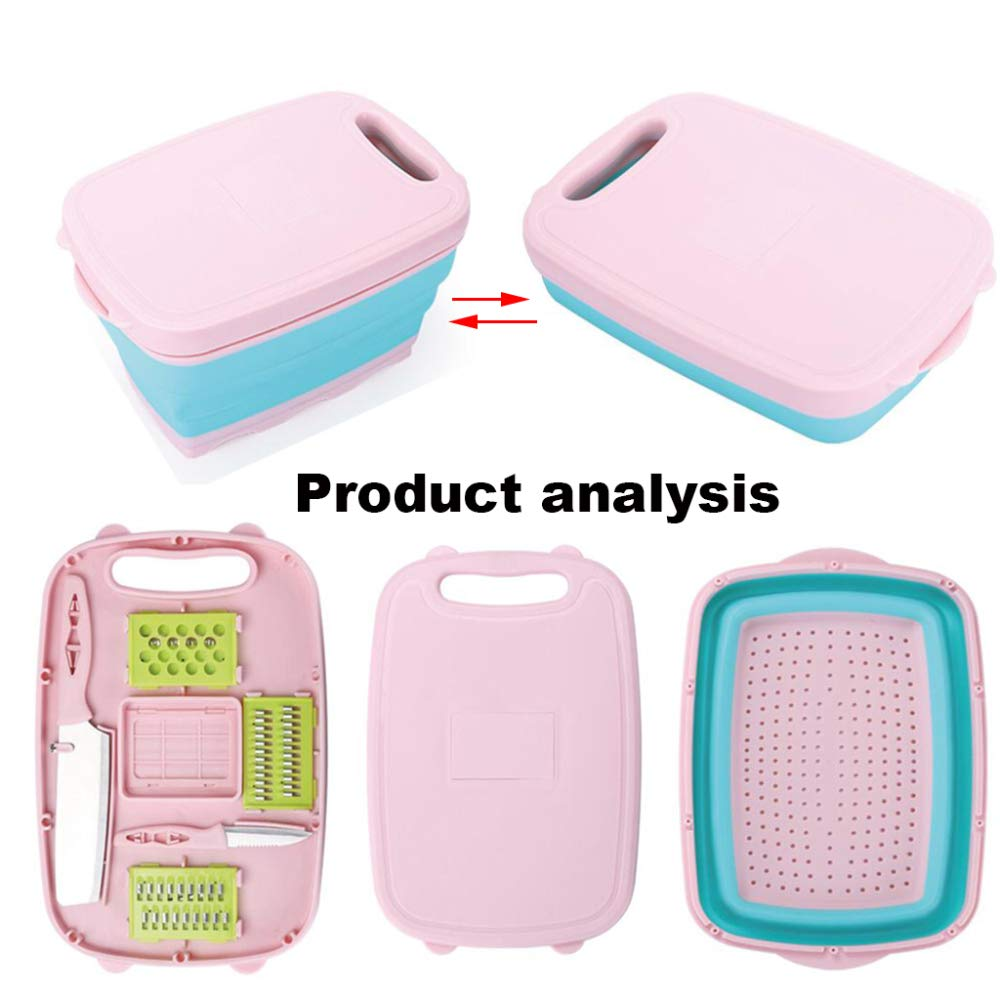 DENGSH Multifunction Kitchen Cutting Board Suit,Creative 9 in 1 Chopping Board,Drain Basket,Slicer,Kitchen Knife Combination Household/Pink / 34cm by DENGSH