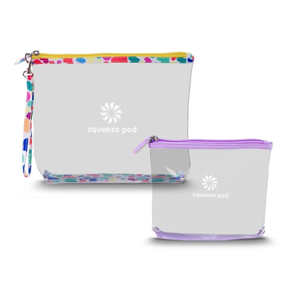 Squeeze Pod Clear Travel Toiletry 2 Bag Bundle – 1 TSA Approved Clear Quart Size Bag w Purple Trim 1 Clear Hanging Bag w Heart Trim. Built to Survive Tough Travel. CTBMSHP