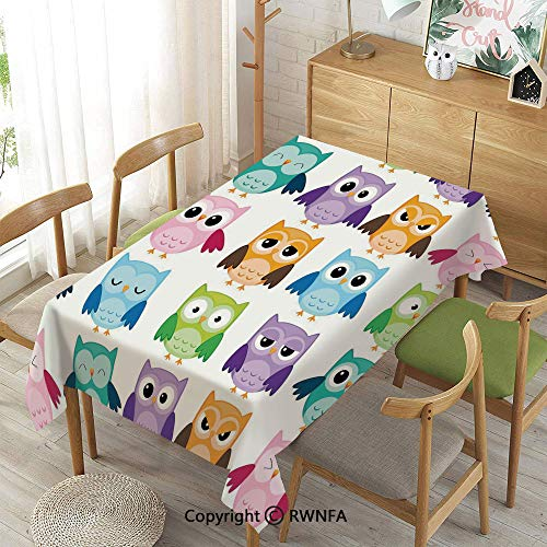 Homenon Decorative Rectangular Table Cloth,Colorful Collection Friendly Owl Birds with Different Face Expressions Comic Cute,Indoor Outdoor Camping Picnic,Multicolor,55