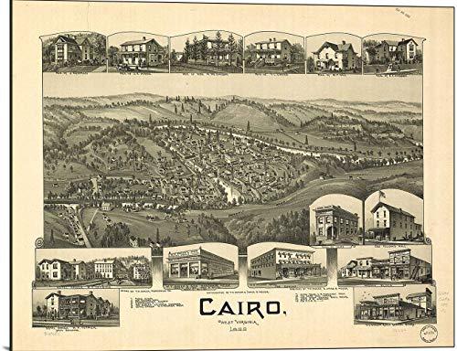 (Cutler Miles Cairo West Virginia 1899 Map Print on Wood)