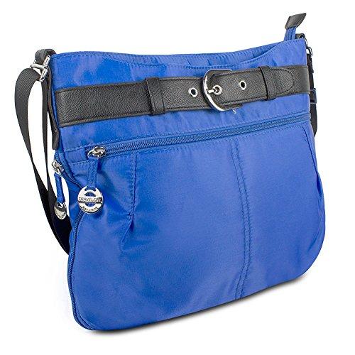 Travelon Nylon Adjustable Hobo with Belt Detail, Dazzle Blue