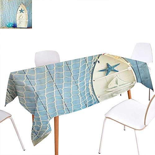 familytaste Nautical Patterned Tablecloth Sea Objects on Wooden Backdrop with Vintage Boat Starfish Shell Fishing Net Photo Dust-Proof Oblong Tablecloth 60