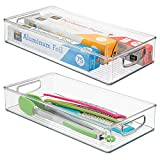 mDesign Kitchen Plastic Storage Organizer Bin Holder for Food Pantry, Refrigerator, Fridge Freezer, Cabinet Drawers organization - Set of 2, 16'' x 8'' x 3'', Clear