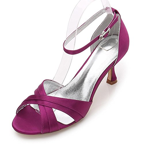 Elegant high shoes Las Mujeres de Las Señoras de La Tarde de La Boda ML17061-33 Party Peep Toe Sandals Shoes Size/Marfil/Plata/Azul Purple