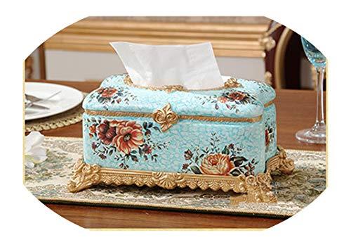 Retro Luxury European Resin Tissue Box Tray Pumping Creative Home Decorations Living Room Furnishings Napkin Box,Blue ()