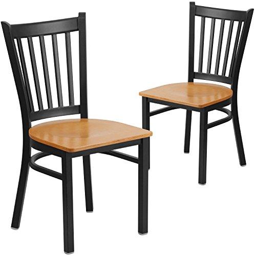 - Flash Furniture 2 Pk. HERCULES Series Black Vertical Back Metal Restaurant Chair - Natural Wood Seat