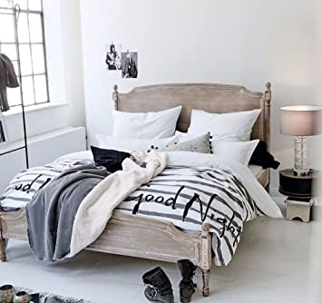 Kasandria® Bett Weiß/Gewischt 140x200cm | Shabby Chic Look |  Blauglockenholz | Ehebett