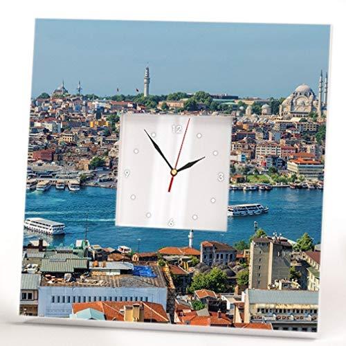Istanbul Bosphorus View Wall Clock Mirror Framed Turkey Printed Art Fan Travel Gift Decor Skyline ()