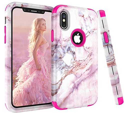 - iPhone X Case, VPR Marble Stone Pattern Design 3 in 1 Hybrid Cover Hard PC Soft Silicone Rubber Heavy Duty Shock Absorbing Protective Defender Case for iPhone X 2017 Release (Rose2)