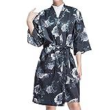 Kimono Style Floral Salon Client Gown Robes Fashion Salon Smock Black