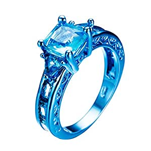 JunXin jeweley 2017 Blue Gold CHRISTMAS Ring,Blue Sapphire Womens Party Chic Rings Size5