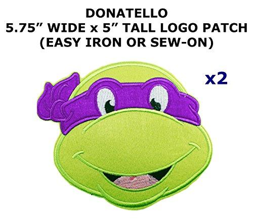 Donatello Tmnt Costume Diy (2 PCS Donatello Teenage Mutant Ninja Turtles Theme DIY Iron / Sew-on Decorative Applique Patches)