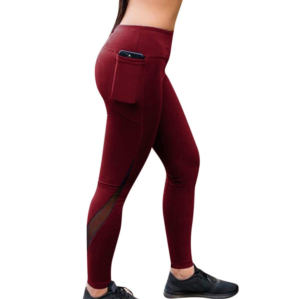 CapsA Workout Leggings for Women Solid Slim-fit Fitness Sports Gym Running Athletic Pants Yoga Pants Wine