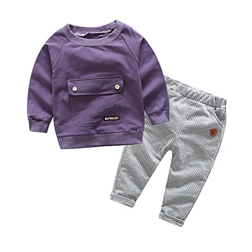 Top and Top 2PCS Baby Boys Girls Cartoon Clothing Set Long Sleeve Shirt and Pants (100/18-24 Months, Purple)