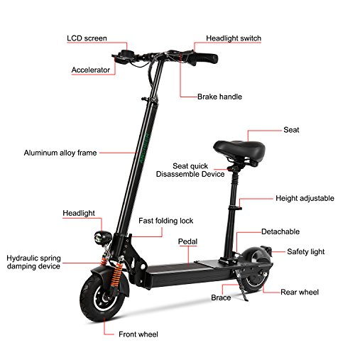 Ancheer S-800 Electric Scooter Easy-Fold-n-Portable Ultra-Lightweight City Urban Commuter Adult E-Scooter/E-Bike/Electric Bike with Retractable Seat, 22 MPH Speed, LCD Display, Support 260 lbs
