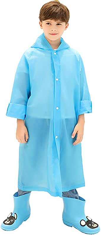 suyncyi Kids Rain Poncho,Reusable Kids Rain Coat for 6-11 Years Old