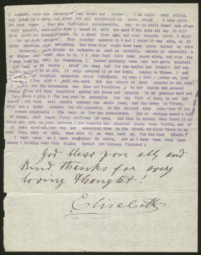 "Queen Elisabeth (Romania)""Elisabeth Of Wied"" Typed Letter Signed 04/30/1902"