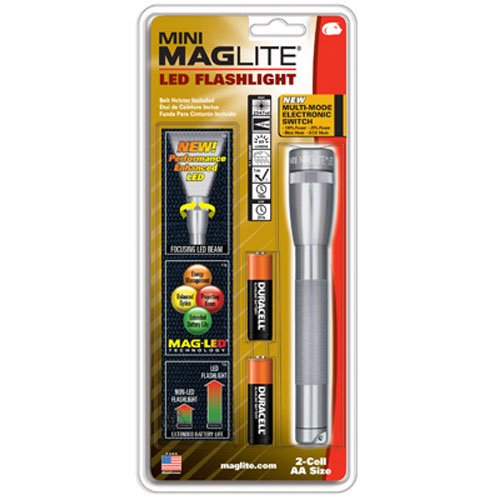 Maglite Mini LED 2-Cell AA Flashlight with Holster, - Flashlight Aa Maglite Mini