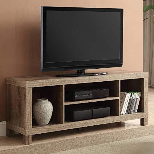Cross Mill TV Stand (Rustic Oak, 47.24 x 15.75 x 19.09 Inches) ()