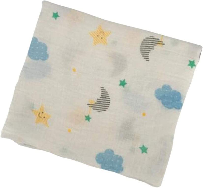 Manta de muselina para bebé con diseño de estrellas, luna y nubes, 100% algodón