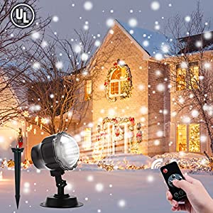 Christmas Projector Lights Outdoor, ALOVECO LED Snowfall Landscape Projector Light with Wireless Remote for Christmas, Xmas, Outdoor, Party Decorations (Largest Coverage)