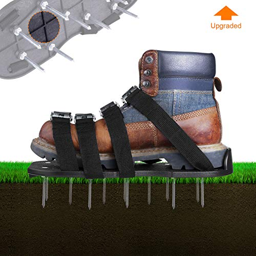 TACKLIFE Lawn Aerator Shoes, Updated Stiffened Sole Design,4 Aluminum Alloy Buckled Lawn Sandals,4 Adjustable Straps, Inflatable for Your Lawn or Courtyard, Convenient Loose Earth Gardening Tools