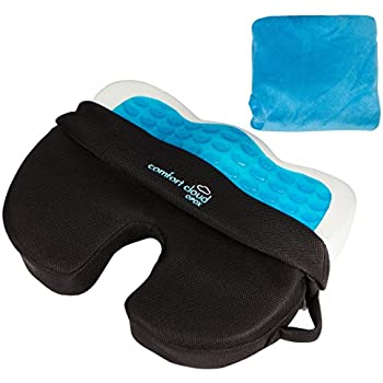 Comfort Cloud OPDX Coccyx Hybrid Gel, Breathable Mesh, Memory Foam Non-Slip Bottom Seat Cushion with Cover
