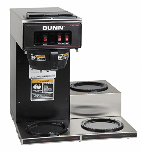 BUNN 13300.0013 VP17-3BLK3L Pourover Commercial Coffee Brewer with Three Lower Warmers, Black by BUNN