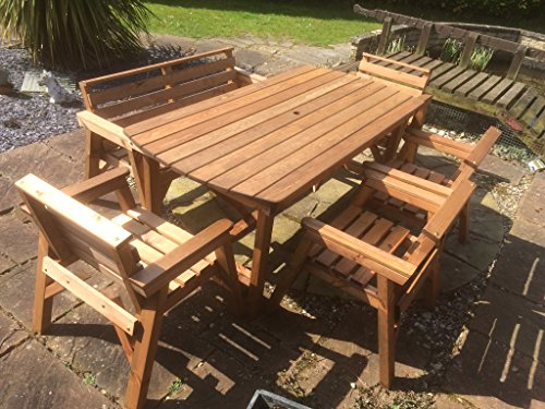 6′ Table 1 Bench & 4 Chairs. Solid Wooden Garden Furniture Set. * SUPER STURDY *
