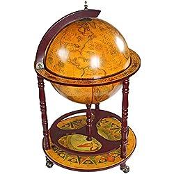 Design Toscano Liquor Cabinet - Sixteenth-Century Italian Replica Globe Bar Cart - Home Bar - Bar Cart on Wheels