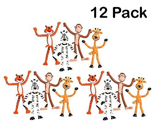 Giraffe Zoo (12 Pack Bendable Zoo Animals 4-Inch-tall, Giraffes, Tigers, Monkeys And Zebras – Bendable Fun Toy, Great Party Favor – By Kidsco)
