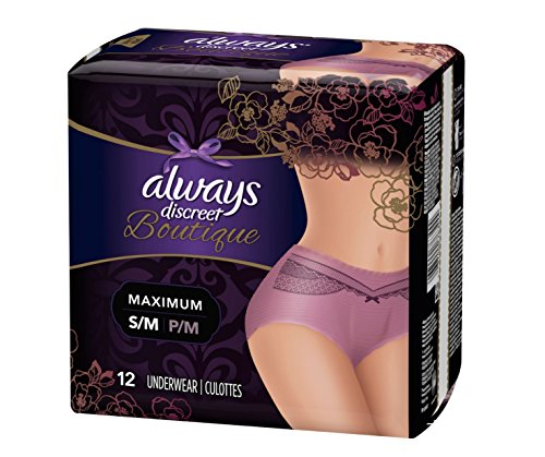 12 Count (1 Package) Small/Medium Mauve Always Discreet Boutique Incontinence Underwear Maximum