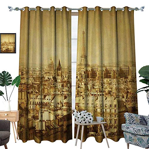 (homehot Eiffel Tower Patterned Drape for Glass Door Classic Photo of Eiffel Tower Paris National Landmark Old Album Memories Vintage Waterproof Window Curtain Brown)