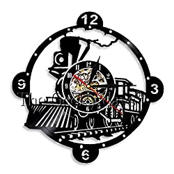 MUMUSO Locomotive Train Wall Clock Vintage Steam Engine Vinyl Record Clock Train Locomotive Wall Decor Train Enthusiast Gift-7 Color Lights