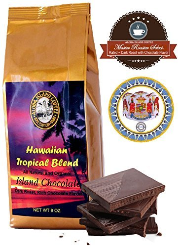 (Kona Hawaiian Coffee Blend, Chocolate Flavor, 8 Oz Whole Bean)