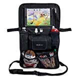 Kidplicity Universal Backseat Car Organizer – Tablet Touchscreen Holder – Multiple Pockets for Baby Kids Toy Storage - Wet Wipes Tissue Compartment Dispenser – Premium Kick Mat Back Seat Protector