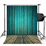 Kooer 5x7ft Dark Cyan Wood Floor Photography Backdrops Wooden Style Wall Photography Backgrounds Photo Studio Prop Baby Children Family Photoshoot Backdrop Customized Various Size