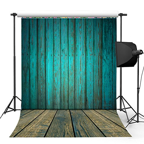 - Kooer 5x7ft Dark Cyan Wood Floor Photography Backdrops Wooden Style Wall Photography Backgrounds Photo Studio Prop Baby Children Family Photoshoot Backdrop Customized Various Size