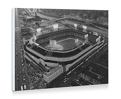 Old Tigers Stadium, Detroit, Mi - Art Print Wall Art Frameless Decorative Painting - Black and White - Ready To Hang - 20x14 Inches - - Old Tiger Stadium Detroit