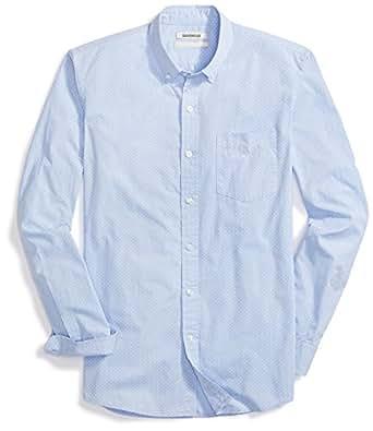 Goodthreads Men's Slim-fit Long-Sleeve Dot Print Shirt, Blue/White, Medium