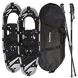 FLASHTEK Snowshoes for Men and Women, Light Weight Aluminum Terrain Snowshoes + Pair Anti-Shock Adjustable Snowshoeing Pole (Optional) + Free Carrying Tote Bag