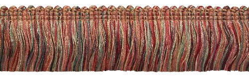 DÉCOPRO 5 Yard Value Pack - RED, Light Rose Baroque Collection Brush Fringe 1 3/4