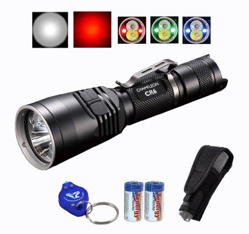 Bundle: Nitecore Chameleon CR6 440 Lumens Red & White Dual Beam LED Flashlight Hunting Light w/ RGB Color Light, 2x CR123A Batteries, Holster & Lumentac Keychain Light
