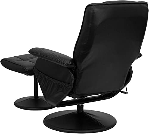 Flash Furniture Massaging Adjustable Recliner and Ottoman with Wrapped Base in Black LeatherSoft
