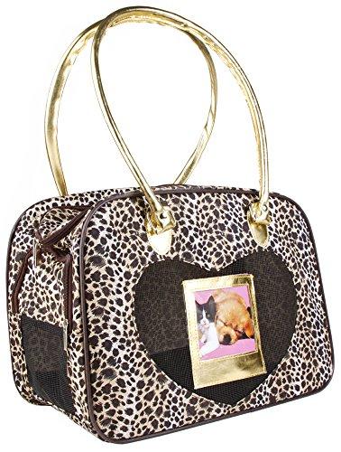 J Garden Gold Leopard Pet Dog Cat Carrier