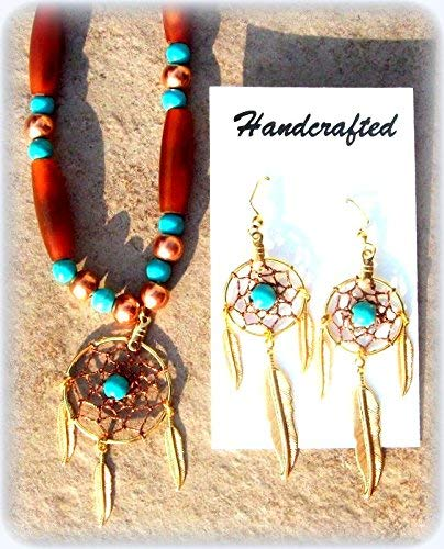 DREAMCATCHER Necklace & earrings set, Ram horn, Turquoise and copper Native American made Dream catcher earring and Necklace set, Choctaw, Cherokee Handmade