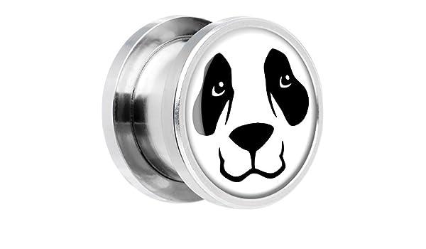 Acero Inoxidable Oso Panda Cara Dilatador Ajuste Rosca Par 9/16